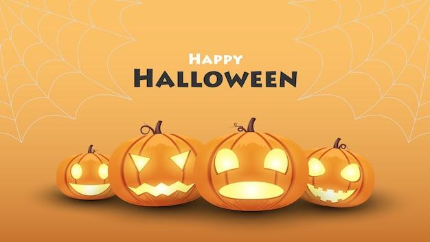 Sfondo di halloween, zucca halloween imposta emozioni diverse
