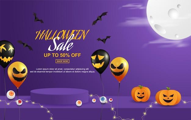 Vendita di sfondo di halloween con stile di taglio della carta del podio Vettore Premium
