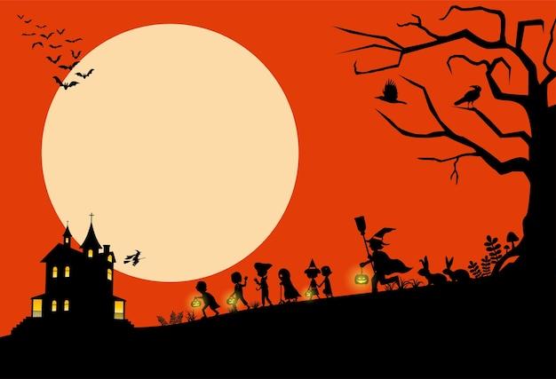 Sfondo di halloween, silhouette di bambini che vanno dolcetto o scherzetto, illustrazione
