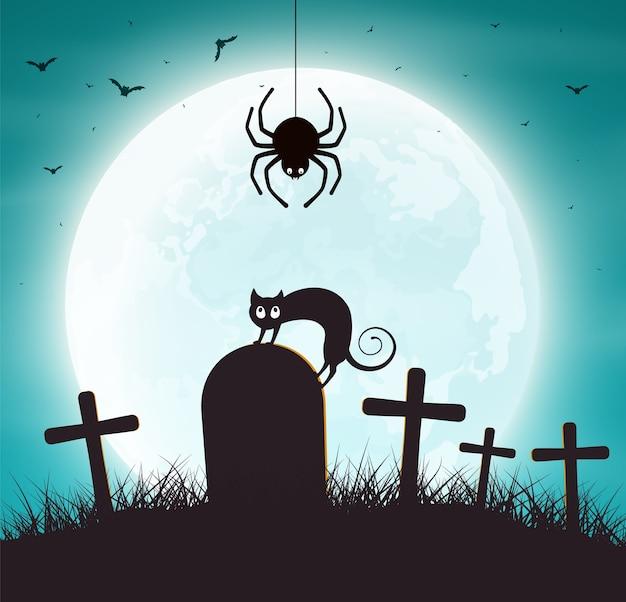 Sfondo di halloween. ragnatela con pipistrelli e gatto sulla tomba.