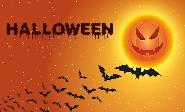 Sfondo di halloween con pipistrelli volanti sopra la luna piena di zucca. illustrazione vettoriale