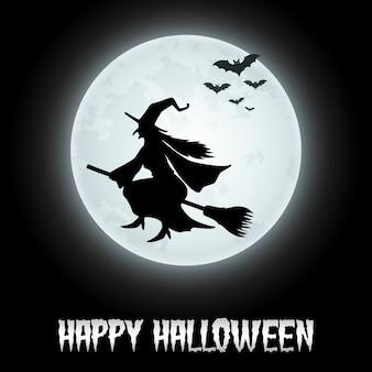 Sfondo di halloween con la strega di volo