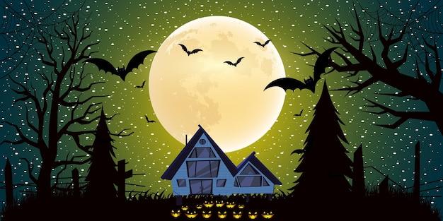 Sfondo di halloween con luce sfumata in design piatto