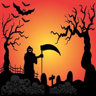 Sfondo di halloween con sfondo arancione e illustrazione piatta di halloween ghost vector full moon