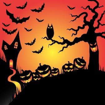 Sfondo di halloween con zucca arancione e gufo illustrazione piana di vettore dell'albero di halloween luna piena