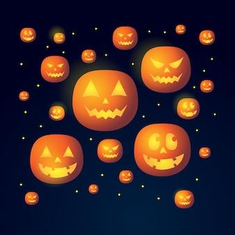 Sfondo di halloween con motivo a carattere di zucche