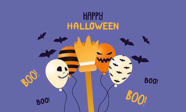 Elio di palloncini di halloween con strisce e facce