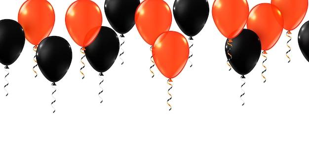 Palloncini di halloween. set di palloncini per decorazioni di halloween per feste. palloncini arancioni, bianchi e neri spaventosi. faccia inquietante su mongolfiera in vendita striscioni o poster