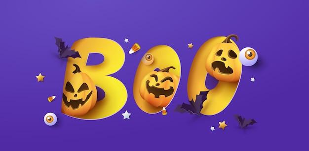 Banner design di halloween con tipografia boo tagliata di carta e zucche elementi festivi halloween