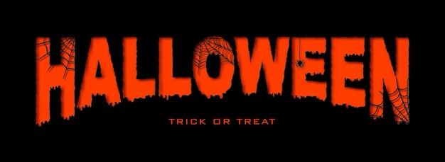 Banner di halloween in stile carta tagliata testo arancione su sfondo nero con ragnatele