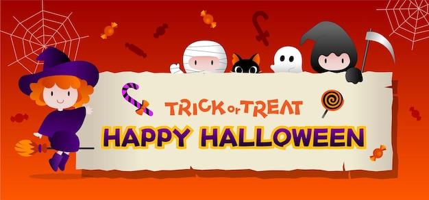 Banner di halloween o invito a una festa con cornice quadrata e icone piatte