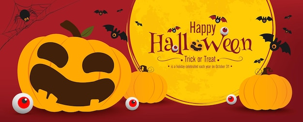 Disegno vettoriale di banner di halloween zucche di halloween e su sfondo scuro per banner di biglietti di auguri po