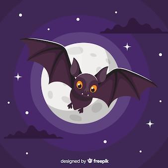 Halloween pipistrello sfondo in design piatto