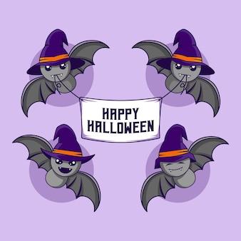Pipistrello di halloween che trasportano banner tessili di felice halloween