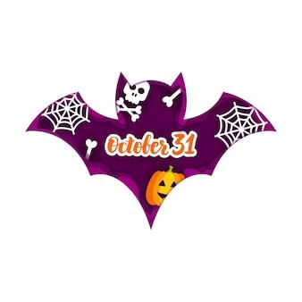 Concetto del taglio della carta del pipistrello di halloween. illustrazione di vettore. dolcetto o scherzetto.