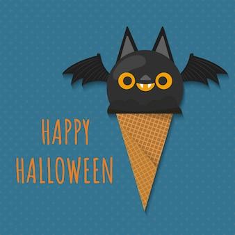 Pallina di gelato a forma di pipistrello di halloween.