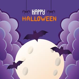 Pipistrelli di halloween che volano nella luna
