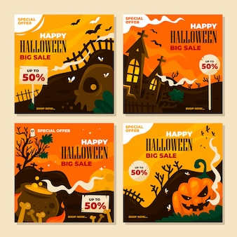 Grande sconto di vendita di halloween per post su instagram