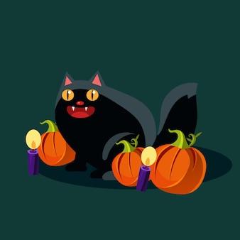 Illustrazione del gatto nero e delle zucche di halloween