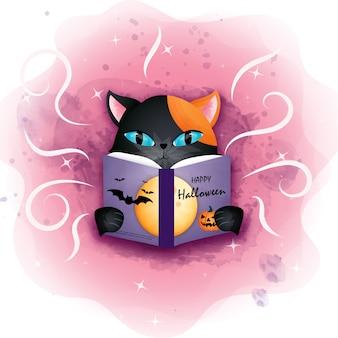 Gatto nero di halloween che legge il libro di halloween.