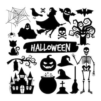 Siluette nere di halloween. happy halloween icone vettoriali notte, pipistrello e scheletro, gufo e fantasma