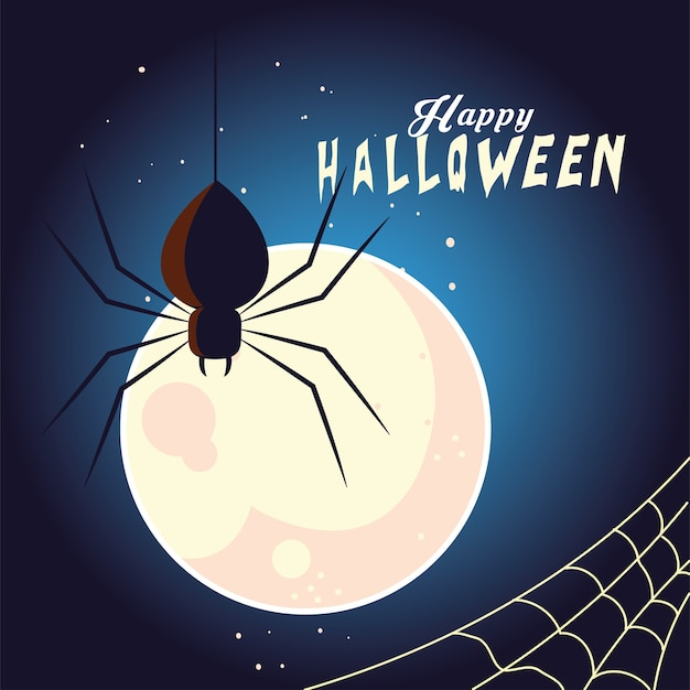 Ragno nero di halloween davanti al design della luna, vacanze e tema spaventoso