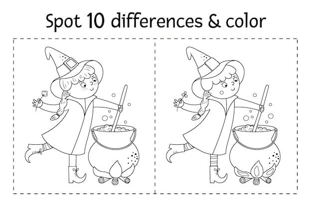 Gioco in bianco e nero delle differenze del ritrovamento di halloween per i bambini attività educativa autunnale con strega divertente, calderone, gatto. foglio di lavoro stampabile o pagina da colorare con carattere sorridente.