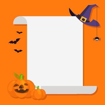 Bandiera blu di halloween con rotolo di carta vuoto