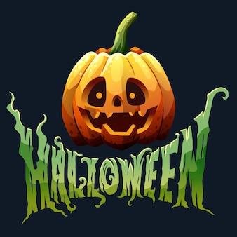 Tipografia di ramo di halloween con zucca per poster