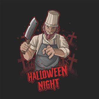 Illustrazione vettoriale di halloween macellaio killer