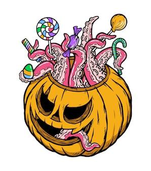 Illustrazione di caramelle e zucca di halloween