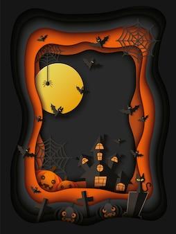 Carta o poster di halloween con zucche e pipistrelli