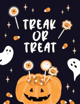 Carta di halloween. dolcetto o scherzetto.