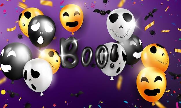 Sfondo di carnevale di halloween, palloncini viola arancioni, concept design party, illustrazione vettoriale di celebrazione.