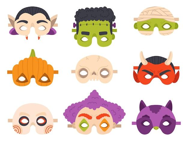 Maschere di carnevale di halloween. maschera da festa diavolo, mummia, zucca e vampiro