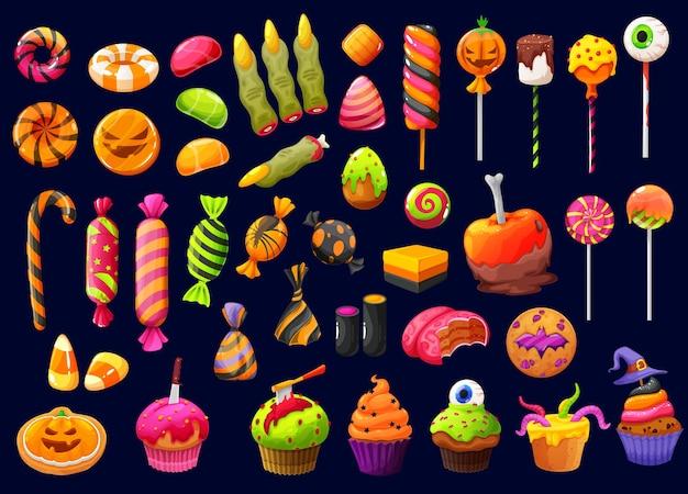 Caramelle e lecca-lecca del fumetto di halloween con le dita della strega, mais caramellato e cupcakes di zucca, vettore. dolcetto o scherzetto di halloween, teschi di cioccolato e ossa di liquirizia, torte e biscotti spettrali