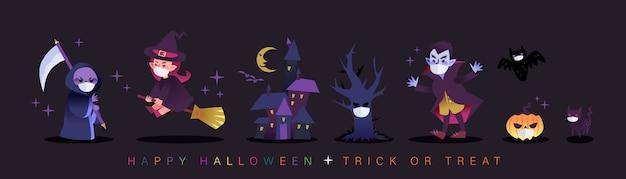 Personaggi dei cartoni animati di halloween che indossano la maschera per il viso durante la pandemia di covid-19.