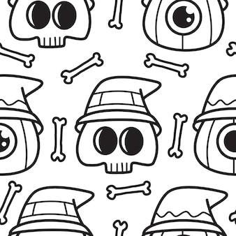 Illustrazione del modello di doodle del fumetto di halloween