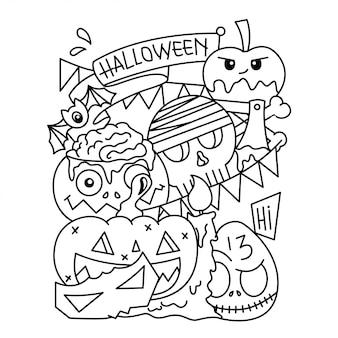 Doodle del fumetto di halloween