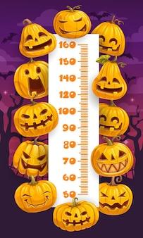 Halloween zucche cartoni animati bambini altezza grafico