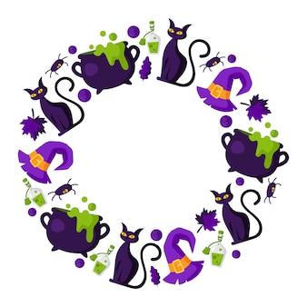 Cornice rotonda del fumetto di halloween con elementi - gatto spaventoso con asini neri, calderone e bottiglia con pozione, caramelle, foglia d'autunno, ragno