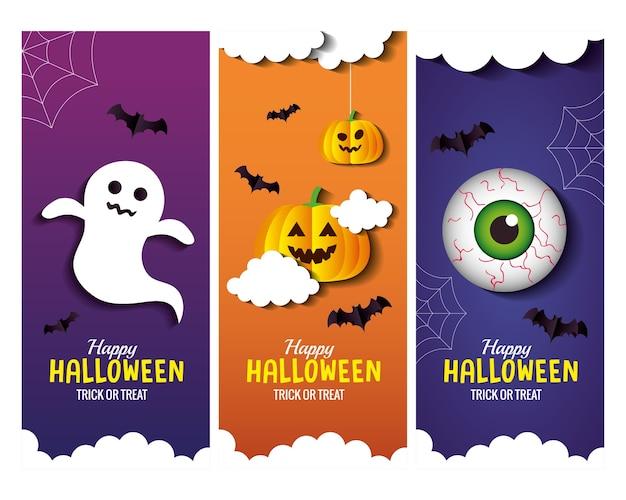 Cartoni animati di halloween in cornici scenografia, vacanza e tema spaventoso