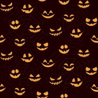 Halloween zucca intagliata facce pattern