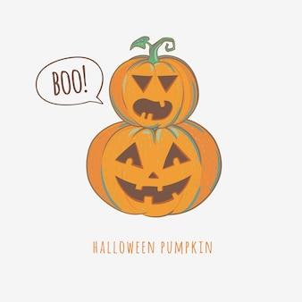 Zucche intagliate di halloween isolate su sfondo bianco, illustrazione vettoriale.