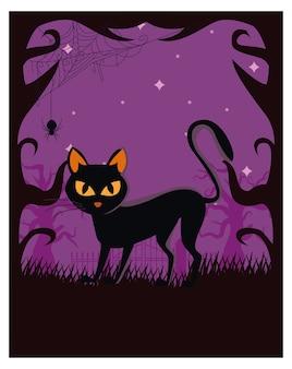 Gatto nero di halloween alla scena notturna