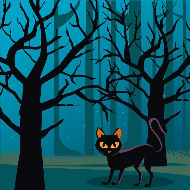 Gatto nero di halloween con la luna piena di notte nella scena della foresta