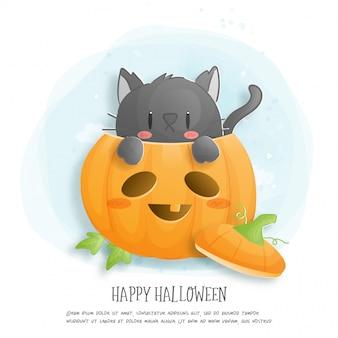 Scheda di celebrazione di halloween con gatto e zucca.