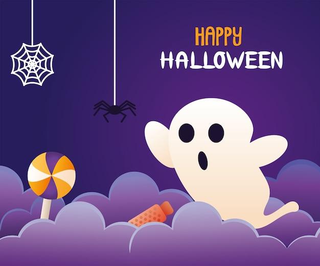 Fantasma di celebrazione di halloween con scritte e ragno appesi