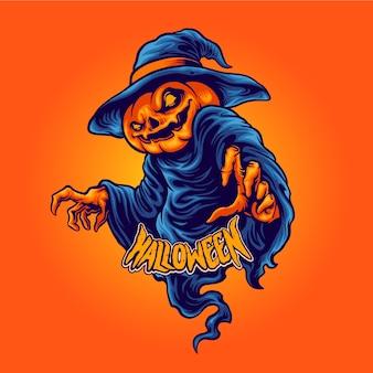 Personaggio di halloween testa di zucca terrore