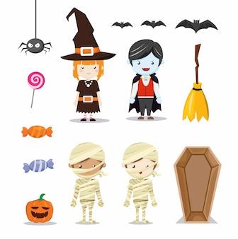 Icona del carattere del costume dei bambini di halloween impostata nel piatto del fumetto